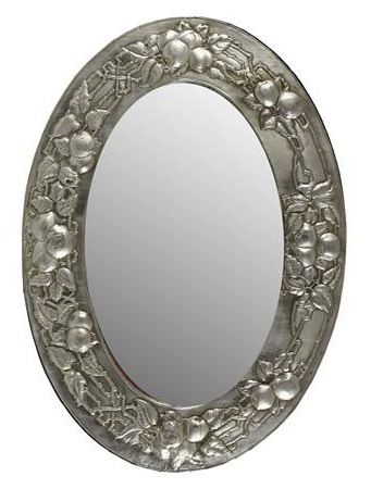 English Arts Amp Crafts Oval Pewter Mirror Early 20th Cent