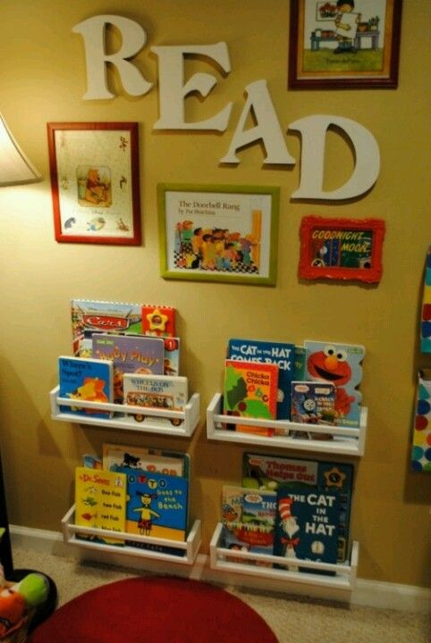 Kids play room!? Love this Idea of Read spelled out on the wall!!!!  B loooooves books!