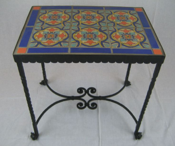 Spanish Revival California Tile U0026 Wrought Iron Table