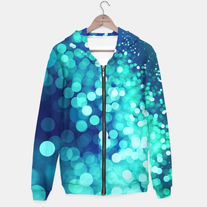 Aqua Blue Glitter Sparkles Hoodie, Live Heroes @liveheroes by @photography_art_decor. All product: https://liveheroes.com/en/brand/oksana-fineart #fashion #clothing #online #shop #design #geometry #metalic #bright #shine #psychedelic #abstract #metalic #abstract #briht #pattern #trendy #stylish #fashionable #modern #awesome #amazing #clothes  #glitter #bokeh #dots #sparkling #girly #twist #swirl #psychedelic #light #aqua #blue #marine #water #sparkles #night