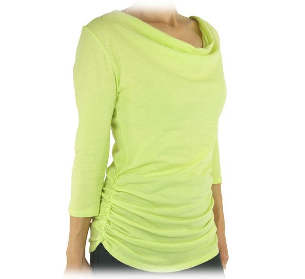 Spring color in feminine style! Organic Cotton Sheer Drape Top will surely bring you the feel of the new season. #sustainablefashion