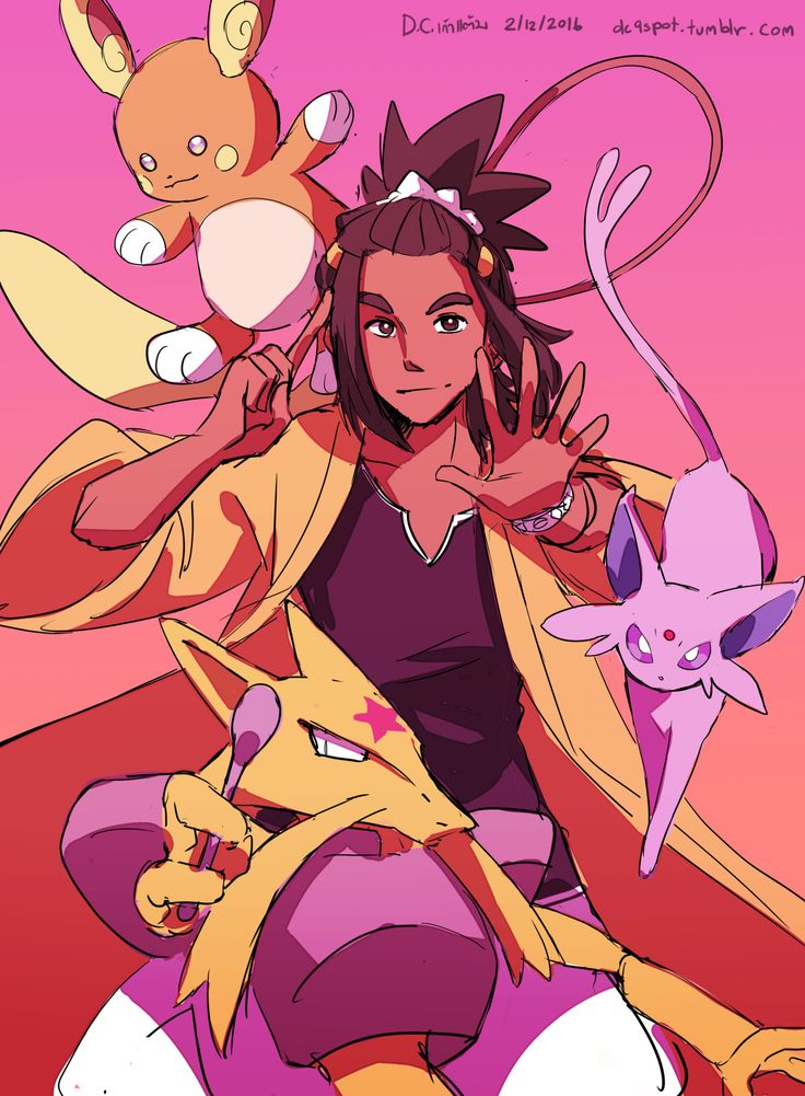 """dc9spot: """" Kahuna Hau and his team! …I draw him as a psychic kahuna. In my mind, his true pokemon companion is Alolan Raichu … So he is either electric or psychic kahuna for me. (I'm kinda lean toward psychic … Because we don't have psychic..."""