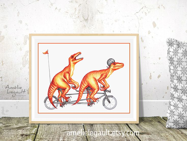 Funny tandem cycling raptors print by Amelie Legault, available on Etsy here: https://www.etsy.com/ca/listing/233282388/dinosaurs-on-bicycle-print-velociraptors?ref=shop_home_active_15  #raptor #dinosaur #tandembike #bicycle #drawing #print #affiche #wallart #kidsroom #kidsdecor #amelielegault #dessin #dinosaure #etsy #etsyshop #etsyseller