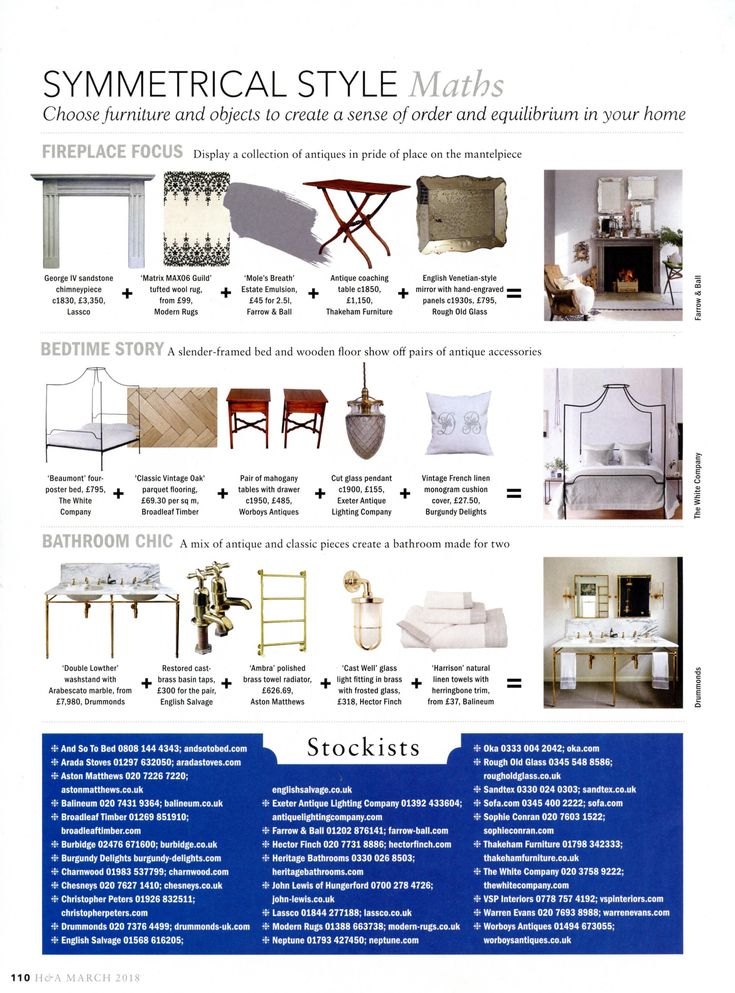 The 'Double Lowther' washstand with Arabescato marble from Drummonds is perfect for a truly chic bathroom. drummonds-uk.com Homes & Antiques March 2018