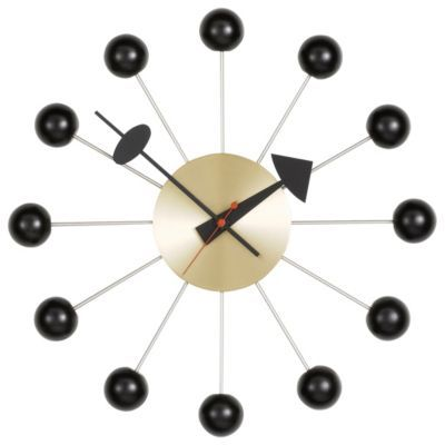 Ball Clock by George Nelson: Ball Clocks, George Nelson, Clocks Black, Wall Clocks, Vitra, Nelson Ball, Black Brass, Ballclock, Clocks Väggklocka