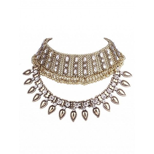 Choies Golden Crystal Statement Choker Necklace (215 ZAR) ❤ liked on Polyvore featuring jewelry, necklaces, gold, golden jewelry, crystal choker, crystal stone necklace, golden necklace and crystal jewellery