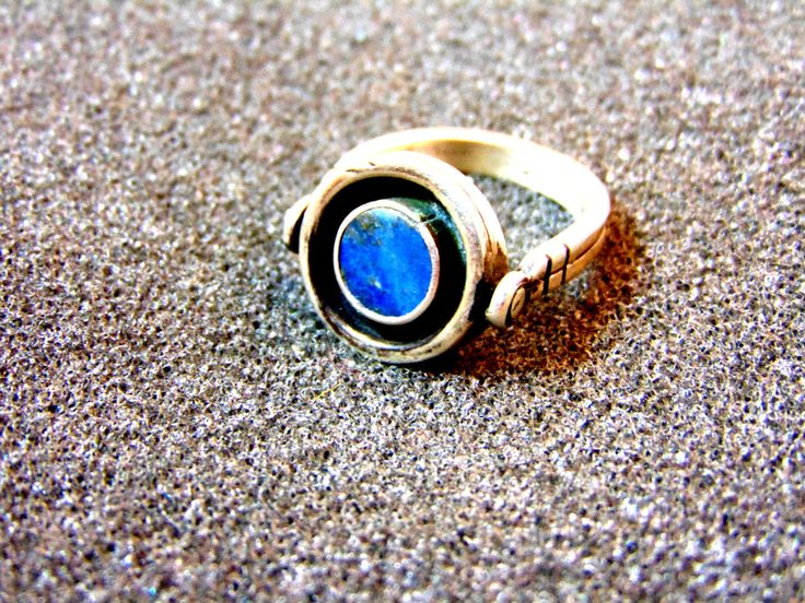 Beautiful men's silver and lapis ring-Unusual gemstone silver ring- Rotating silver ring-Silver statement ring-Lapis lazuli ring-Greek art by ArchipelagosBreeze on Etsy