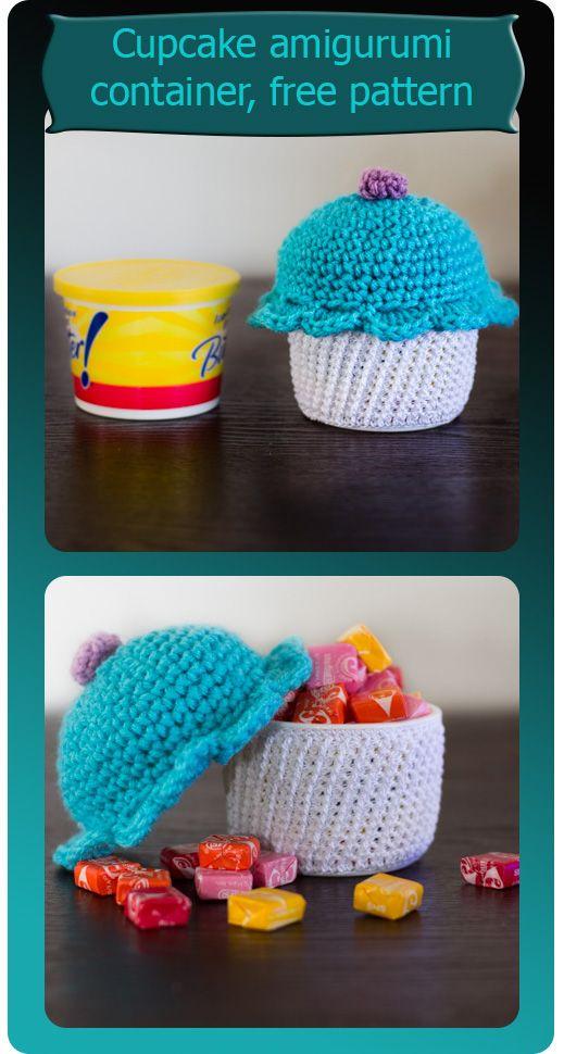 PASTELITO AMIGURUMI, explicaciones en inglés y con fotos. Amigurumi cupcake container free pattern