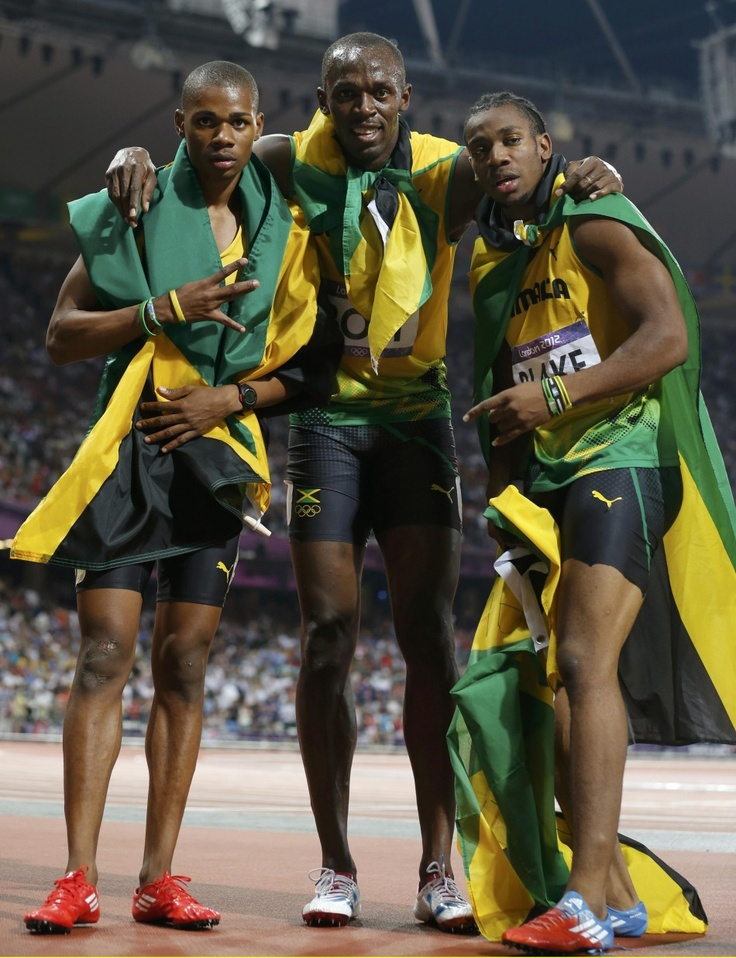 Usain Bolt Yohan Blake Warren Weir - amazing moment for all Jamaicans in the 2012 Olympics 200m!!