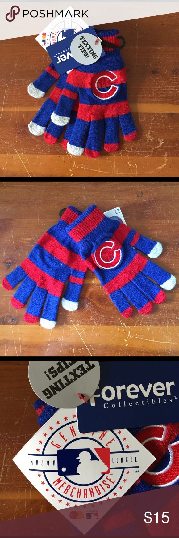 NWT Chicago Cubs gloves with texting fingertips NWT Chicago Cubs gloves with texting tips. Show your Cubbie pride for the 2016 World Series champions with these red and blue striped gloves! Genuine Major League merchandise. Major League Baseball Accessories Gloves & Mittens