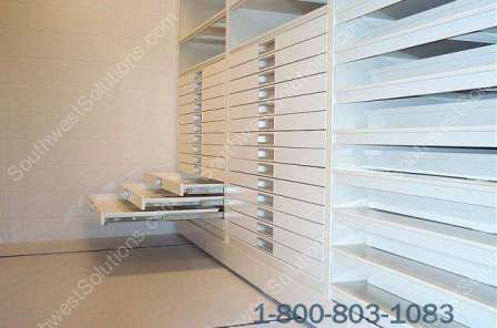 Rolled Blueprint Storage Shelving With Cubbyholes And Plan