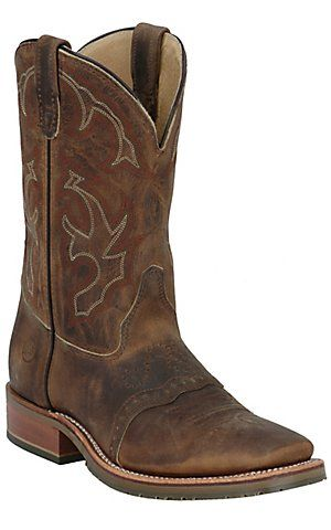 Double H® Men's Distressed Brown Crazy Horse Saddle Vamp Square Toe Western Boot | Cavender's Boot City