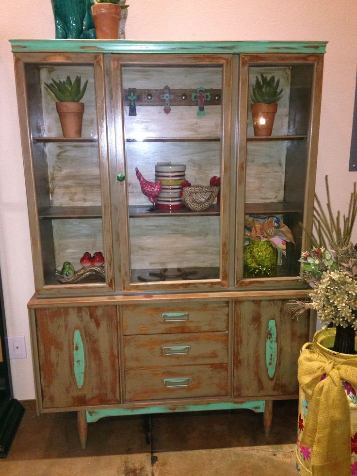 Rustic Western Hutch Tan And Turquoise With Cross Embellishment In The Back Rock 39 N A