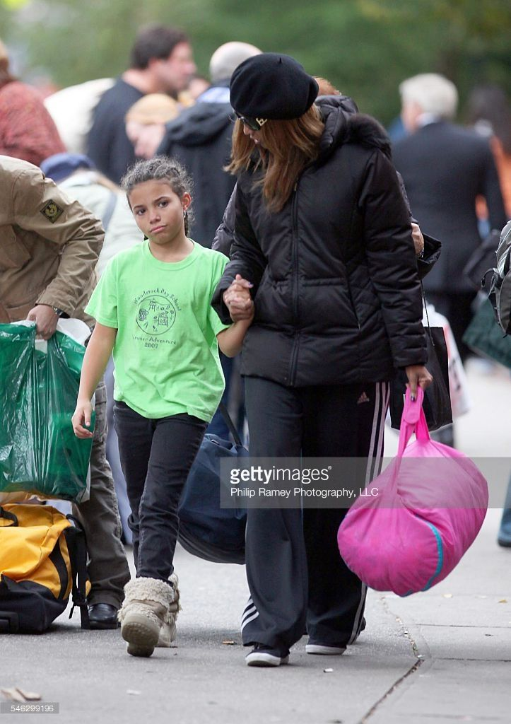 Supermodel IMAN picking 9-year-old daughter Lexi Jones (David Bowie's daughter) up, after a school trip in NYC on October 23rd, 2009.