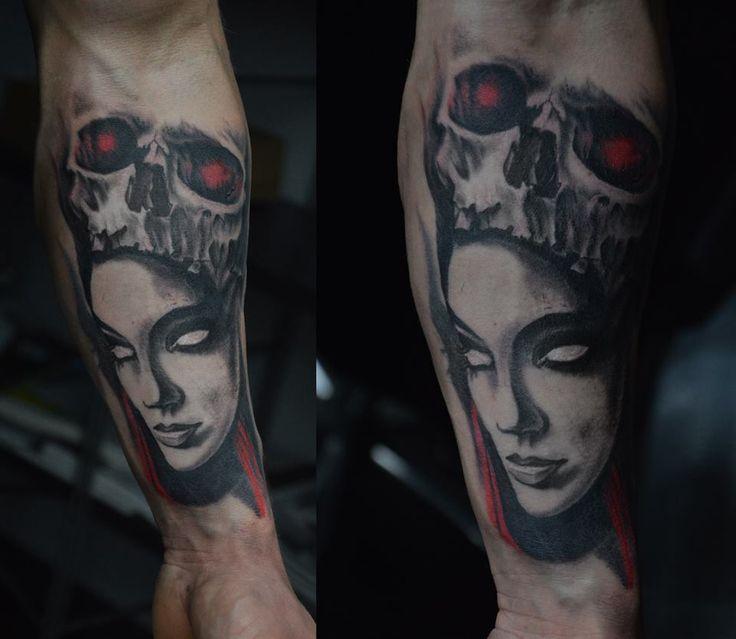 tattoo tomek machoń tomasz machon face art decotattoo skull woman girl dark