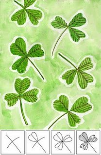 How to draw & paint shamrocks - good simple instruction for the kids - would make nice greeting cards for St Patrick's Day.  From Art Projects For Kids.