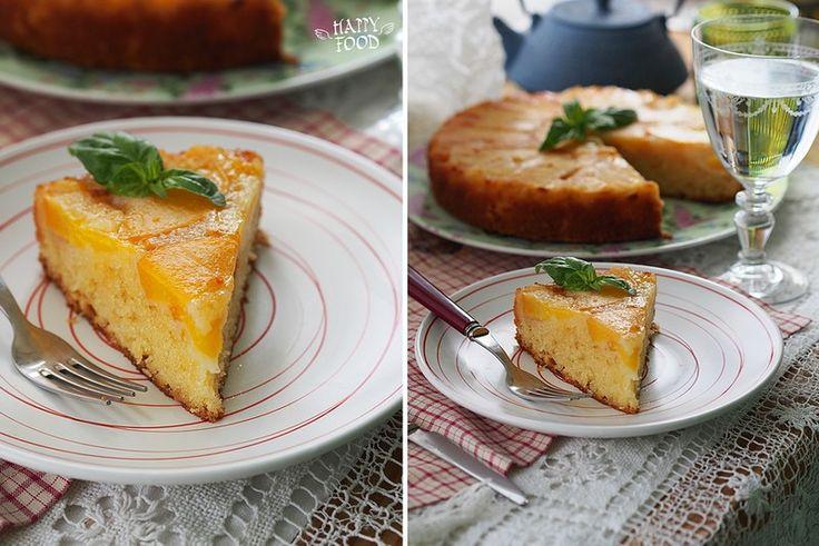 Перевернутый пирог с персиками - HAPPYFOOD