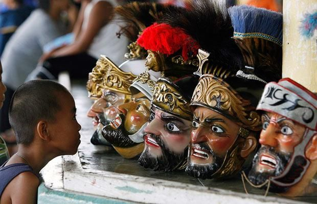 Moriones Festival in the Philippines. Every year during Holy Week, residents dress up as Roman soldiers and parade the streets