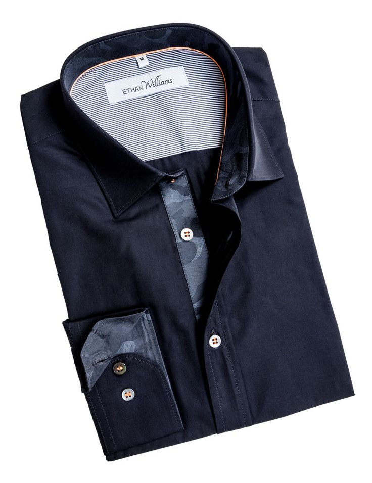 Navy Blue dress shirt with grey camouflage liner - Tamara