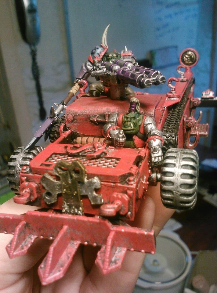 Kit bashed Looted Waggon for the Burna Boyz.  There's an old tape case in there...