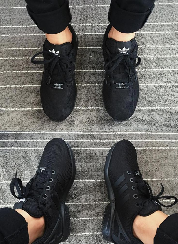 "Super stylish adidas ZX Flux Shoes triple black. These adidas women's mesh shoes show off signature ZX details like ""floating"" 3-Stripes."