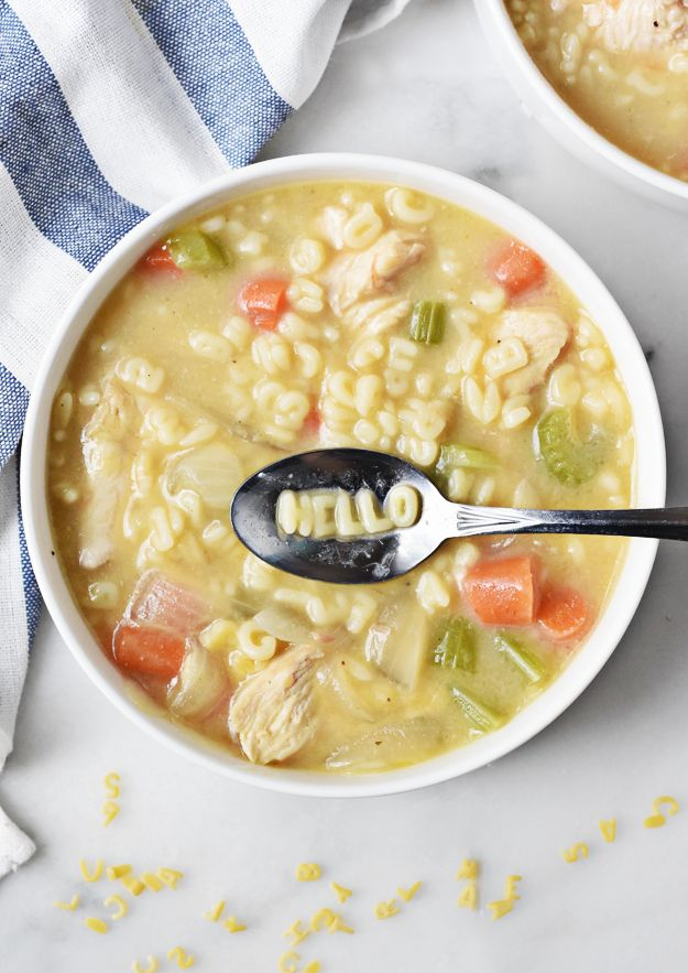 I'll wager an alphabet that this one pot homemade chicken noodle alphabet soup is a hit with kids and adults alike. It's a quick, tasty, and fun recipe.