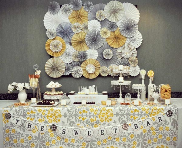 LOVE yellow and grey!  anyone know a source for the tablecloth? party