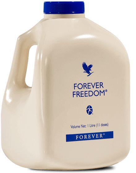 Forever Freedom Délicieusement aromatisé à l'orange, Forever FreedomTM est une formule unique et originale qui, grâce à la vitamine C, contribue à la formation normale du collagène ainsi qu'à la fonction normale des os et des cartilages. Composants principaux : 88,99% de pulpe d'Aloe Vera stabilisée, 1,25% de sulfate de glucosamine, 1,17% de sulfate de chondroïtine, 0,6% de Méthyl Sulfonyl Méthane. Boire 26,7 ml, 3 fois par jour, soit 80 ml