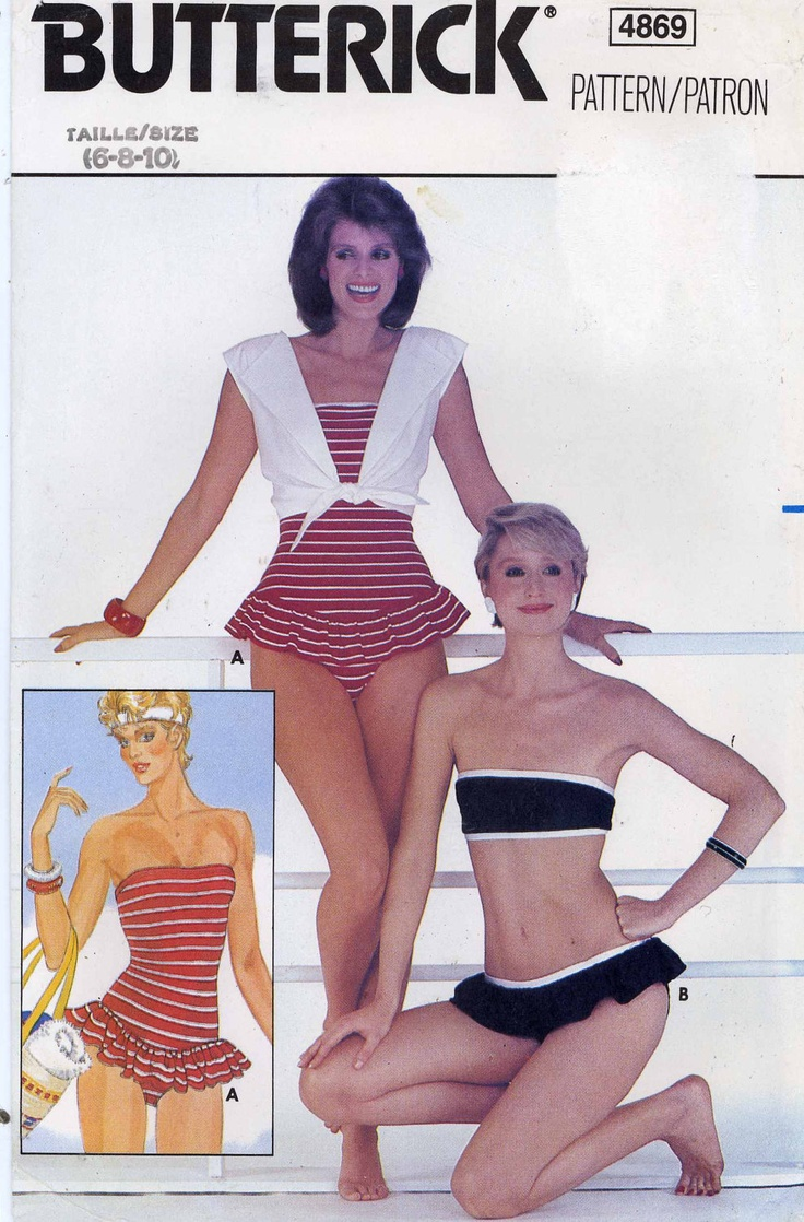 1980s bikini and One piece swimsuit and cover up sewing pattern Butterick 4869. $13.99, via Etsy.