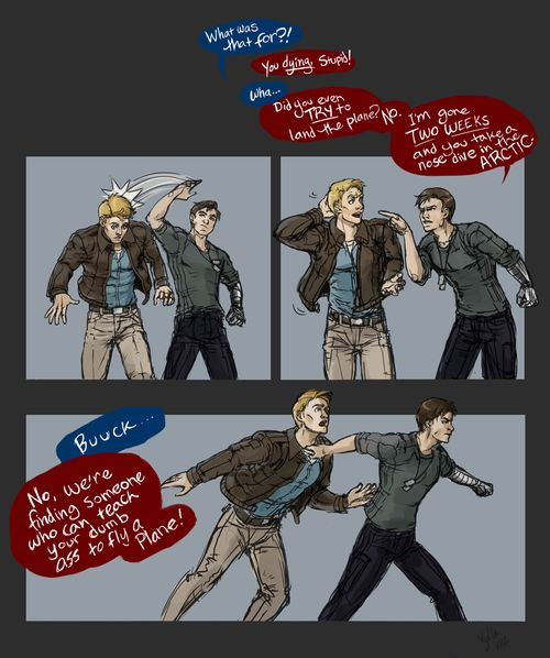 """http://fuckyeahbuckybarnes.tumblr.com/page/5 vylla-art: That one time Bucky found out how Steve """"died""""."""