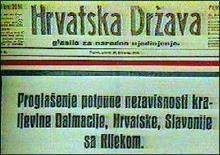 """""""Hrvatska Država"""" glasio Starčevićeve  stranke prava, javlja o raskidu svih veza  Hrvatske s Austro-Ugarskom."""