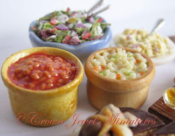 Baked beans, tossed salad, potato salad & macaroni salad by Crown Jewel Miniatures.