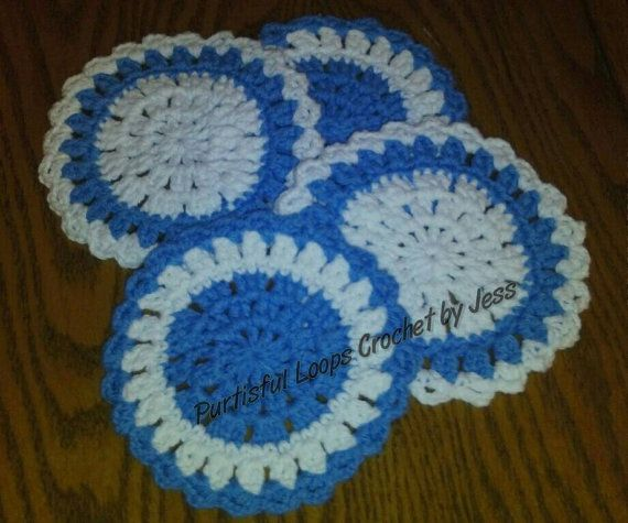 Contemporary Coaster Set of 4, cotton, by Purtisful Loops Crochet by Jess at www.purtisfulloopsbyjess.etsy.com www.facebook.com/purtisfulloops Check out this item in my Etsy shop https://www.etsy.com/listing/289332661/contemporary-coasters-set-of-4-cotton