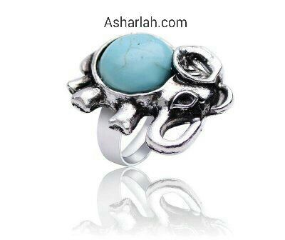 Natural torquise boho antique style elephant adjustable ring
