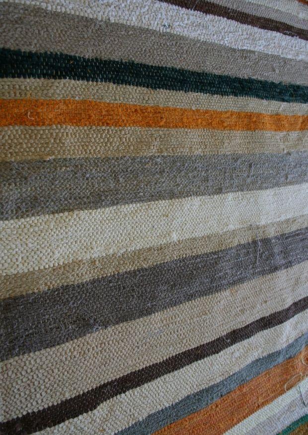 Striped flatpile cotton rug