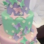 3-tier mint, pink, and purple birthday cake for Fairy First Birthday theme party.  As seen on Kara's party ideas (www.karaspartyideas.com)