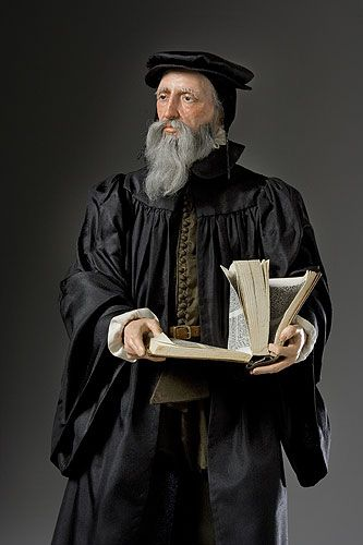 """John Calvin (1509-1564), French subject who became an early convert to the ideas of Martin Luther. As a """"protestant"""" his life in Catholic France was difficult. Eventually he settled in Switzerland, becoming the theocratic dictator of the Geneva canton in 1541. Calvin's harsh and restrictive social and religious laws are the foundation of the future Presbyterian branch of the Protestant church. His was a hard and unforgiving doctrine."""