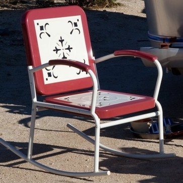 Other Brands Paradise Cove Retro Metal Rocker Red eclectic outdoor chairs
