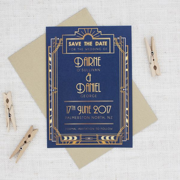 Gold and Navy Blue Art Deco Save the Date - Be My Guest