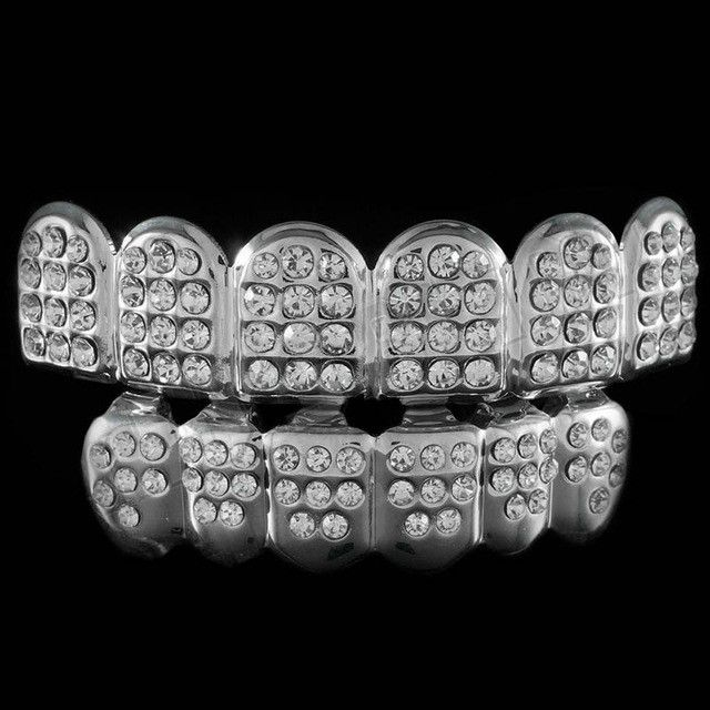 [FULL SET] ICED OUT DIAMOND SILVER GRILLZ
