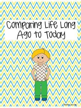 This is a FREE activity for comparing life long ago to today.  It includes a group activity as well as a cut and paste.  Students read the phrase, then decide if it happened long ago or today.  I hope you enjoy it!  :)