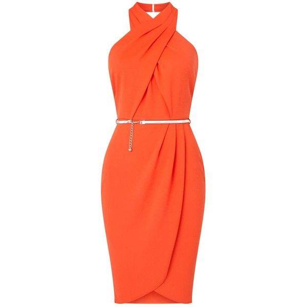 Miss Selfridge Orange Twist Front Wrap Dress (240 BRL) ❤ liked on Polyvore featuring dresses, orange, holiday party dresses, sleeveless wrap dress, wrap dress, orange sleeveless dress and halter neckline dress