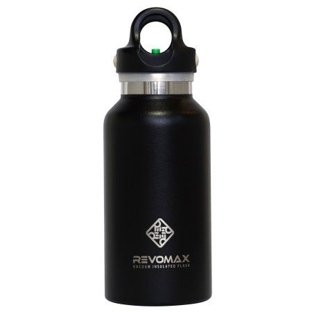 RevoMax Onyx Black 12 oz Classic Thermal Flask with Quick-Release Cap