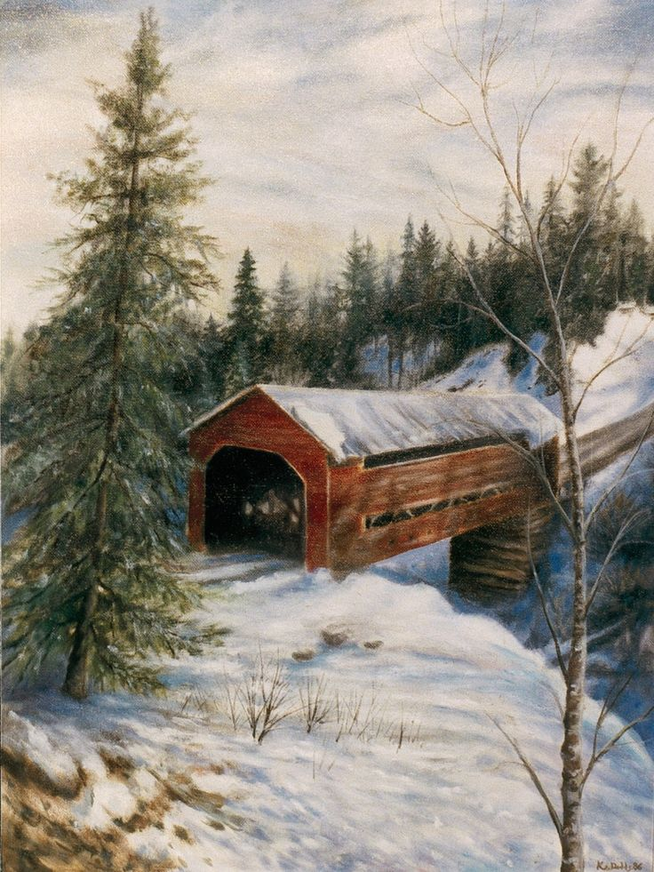 covered bridges | Covered Bridge Low Quebec | kevindoddsart.com