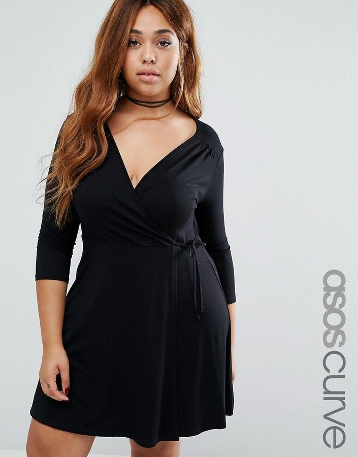 ASOS Curve ASOS CURVE Mini Tea Skater Dress With Wrap Front And 3/4 Sleeve