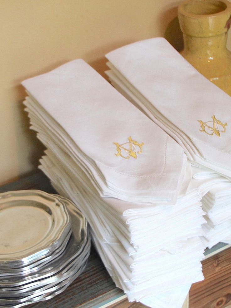 Bulk Monogrammed Wedding Napkins Set Of 50 Embroidered