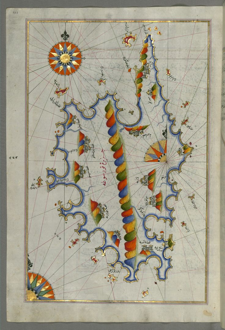 Illuminated manuscript maps.