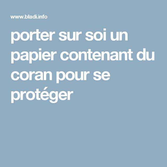 porter sur soi un papier contenant du coran pour se protéger