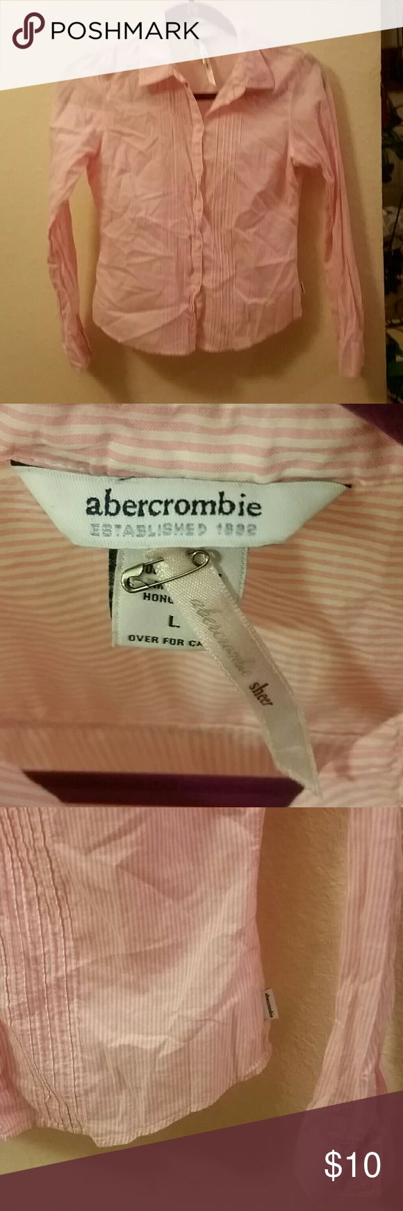 ABERCROMBIE Kids Large Sheer Pink Button Up Shirt Super Cute Abercrombie girl's top size large.  Sheer cotton,  lightweight button up light pink with white vertical pinstripe allover. In perfect condition, removed tags after purchase but never even worn!  Thanks for looking and please check out my closet for more great deals and bundle discounts! :-) Abercrombie & Fitch Shirts & Tops Button Down Shirts