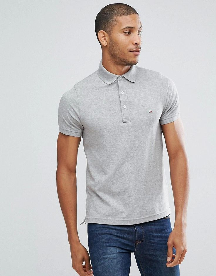 TOMMY HILFIGER SLIM FIT POLO IN GRAY - GRAY. #tommyhilfiger #cloth #